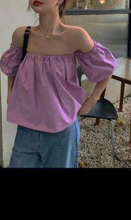🆕女裝 一字膊 露肩 粉紫色