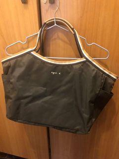 Agnes b 咖啡色帆布手提包