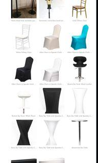 Allen cushion chairs with spandex covers