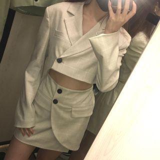 Bershka 短版西裝外套 圍裹迷你裙套裝