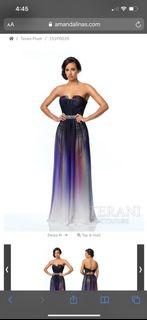 Brand New Terani Couture Multi Ombré gown size 0