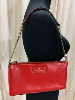 Kate Spade Red Leather Gold Chain Shoulder Bag
