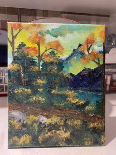 lukisan pegunungan acrylic