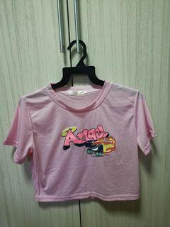 Pink Angel Design Crop Top