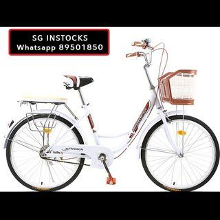 """SALES! FREE DELIVERY INSTOCKS 7 speed gear🔥26"""" Ladies bike Vintage Bicycle With Basket and rear rack Can add bicycle child seat Lady bicycle Women Bike"""