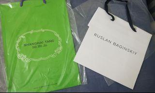 Shanghai Tang / Ruslan Baginskiy Paper bags $30/2 @ $20/1