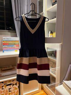 V領撞色短洋裝