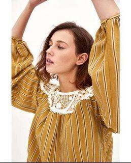 Zara Stripe Mustard Contrasting Blouse