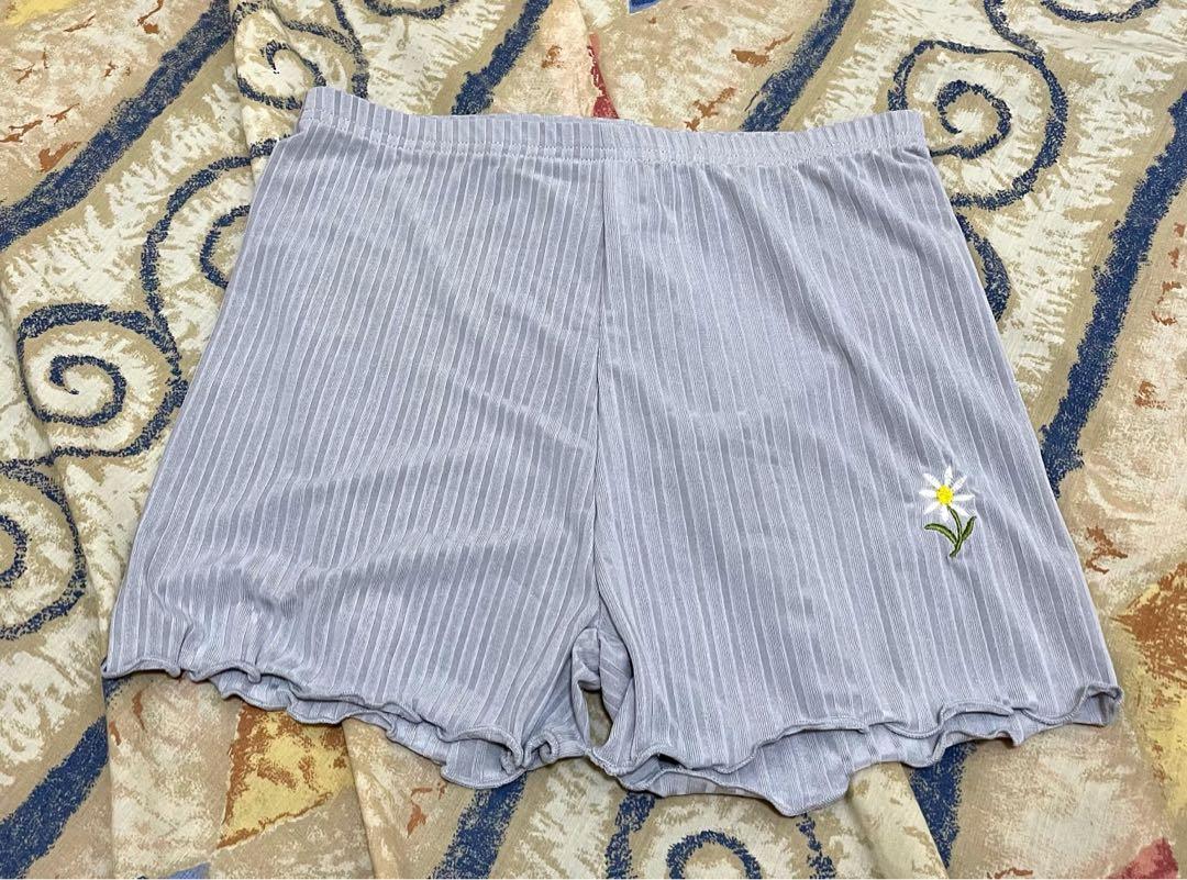0503 ✔️只有1件 🎌JP 日本 小眾品牌 小花刺繡 日系 古著 淺灰 安全褲 內搭短褲