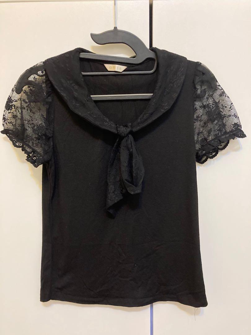 0918百貨公司專櫃黑色蝴蝶結領口蕾絲短袖上衣