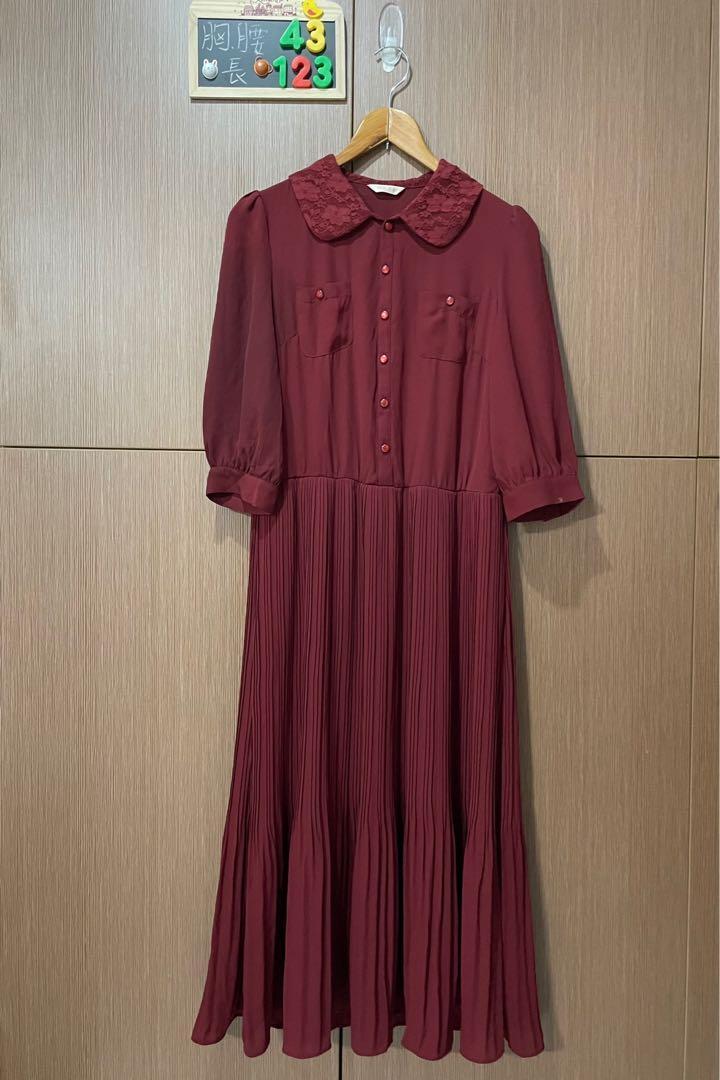 0918'酒紅細摺洋裝