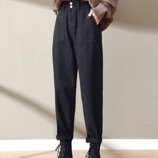 黑色牛仔褲女秋冬季2020新款高腰寬松顯瘦直筒休閑哈倫老爹女褲子568224