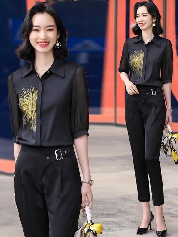 刺繡襯衣設計感上衣春夏新款七分袖開衫黑色襯衫女時尚職業342517
