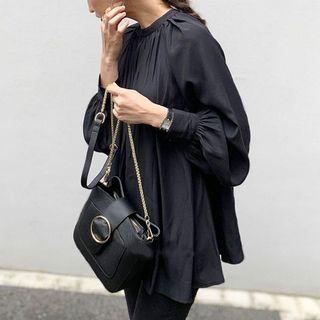 爆款現貨秋季新款日系女裝長袖襯衣寬松上衣純色襯衫女353703