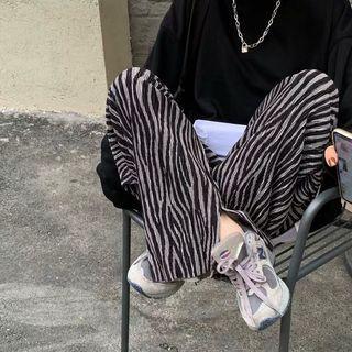 斑馬紋燈芯絨長褲