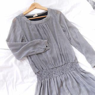黑白細格洋裝