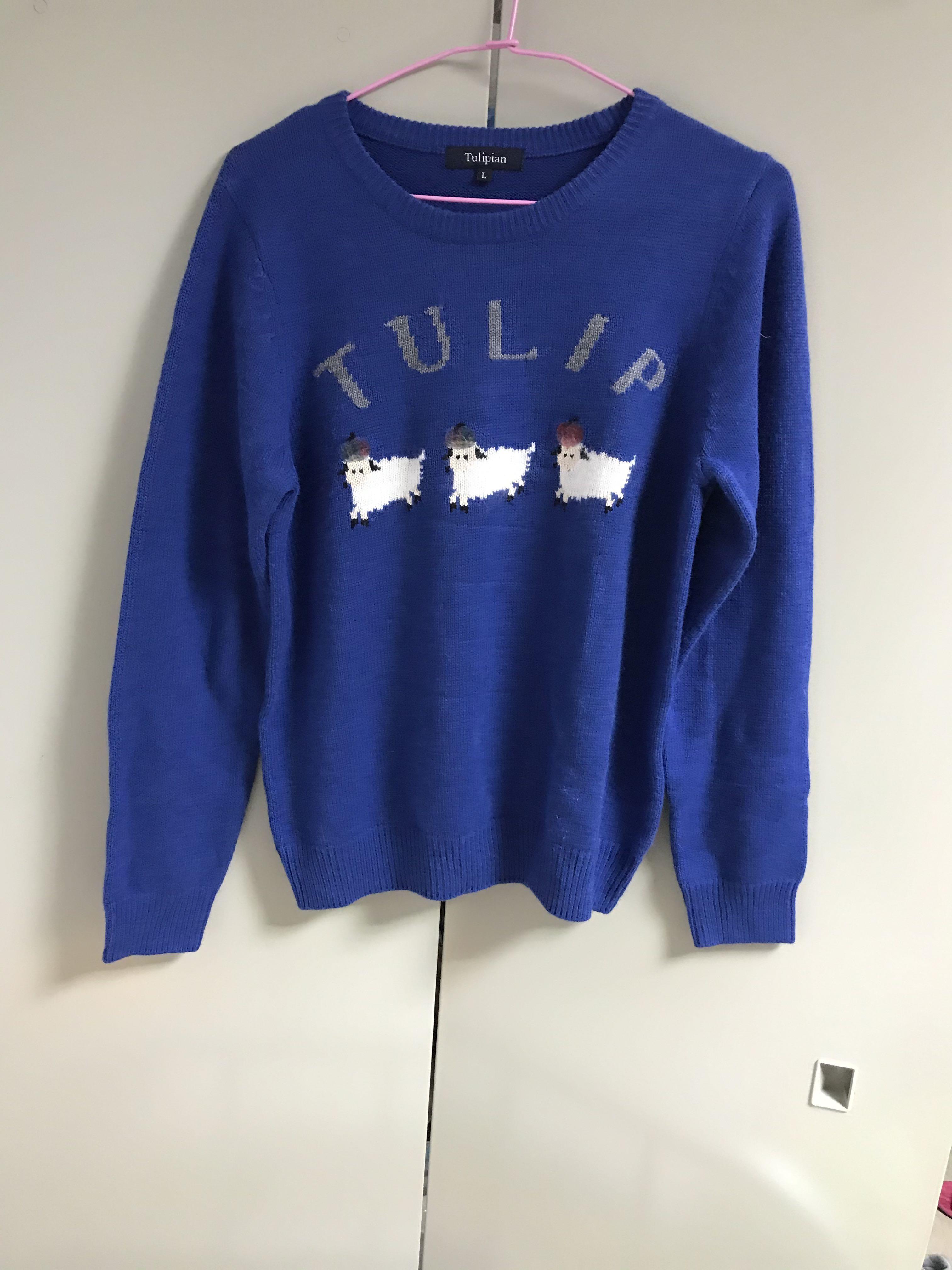 寶藍色長袖毛衣