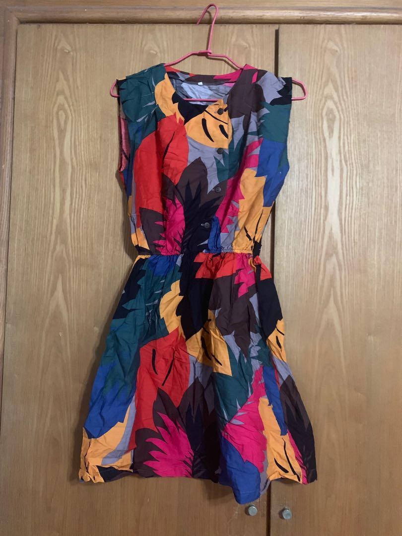 泰國設計師~色彩繽紛棉質無袖洋裝