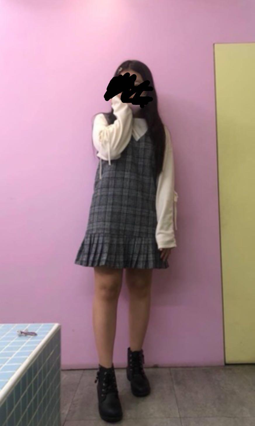 格子無袖傘狀洋裝