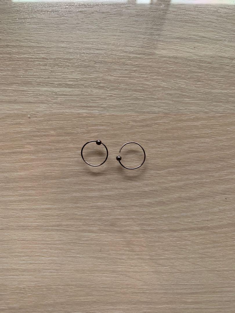 全銀 耳環 附上飾品盒