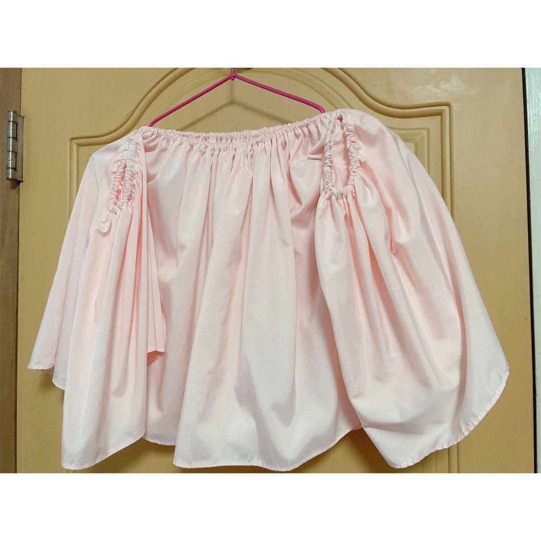 韓版一字領上衣'斷袖一字領 露肩上衣-粉紅