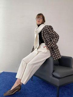 得白 開間  高克重高支澳洲羊毛保暖女褲子強縮絨針織奶奶褲576301