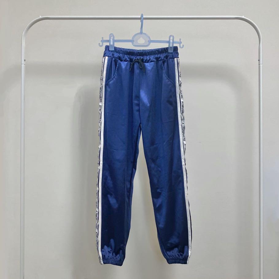 全新✨歐美元宿亮面顯瘦休閒長褲 緞面束口運動褲  九分收口褲