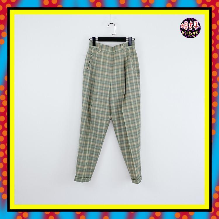 二手 綠色 格紋 打褶 口袋 側拉鍊 高腰 28 長褲 D503 【明太子 古著應召站】