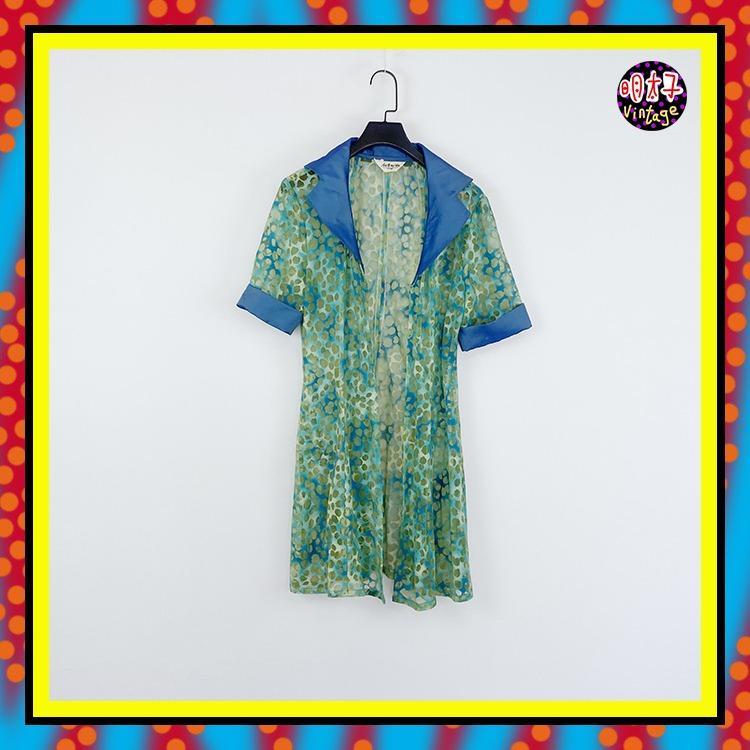 二手 藍綠 印花 透明 長版 罩衫 彈性 短袖 襯衫 D503 【明太子 古著應召站】