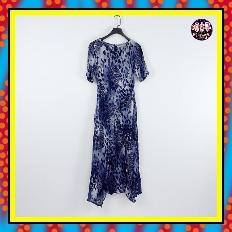 二手 深藍灰配色 印花 輕薄 無內裡 微微透 前兩片綁帶 洋裝 D502【明太子 古著應召站】