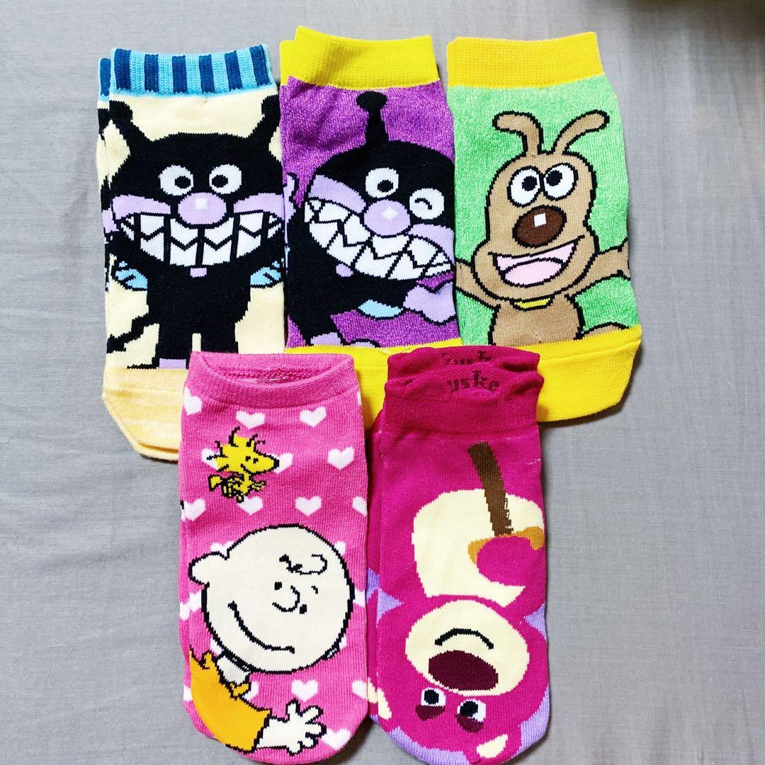 [ 合售 ]玩具總動員 抱哥 麵包超人 細菌人 Snoopy 史努比 查理布朗 卡通襪子 🧦 五雙一起賣