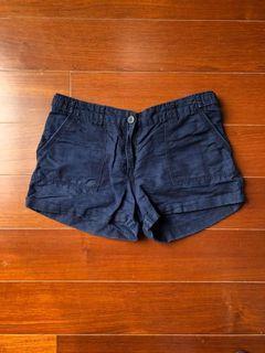 棉麻 寬鬆 短褲 海軍藍 H&M 舒適 女 夏季短褲 Cotton and Linen Loose Shorts Navy Blue H&M Comfortable Women Summer Shorts