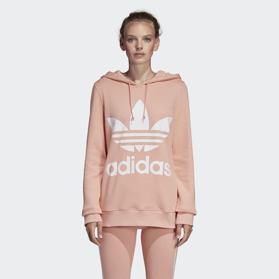 現貨 全新 正品 出清Adidas 女大人 粉色 基本款 三葉草  大LOGO連帽 長袖 帽T  #DV2560
