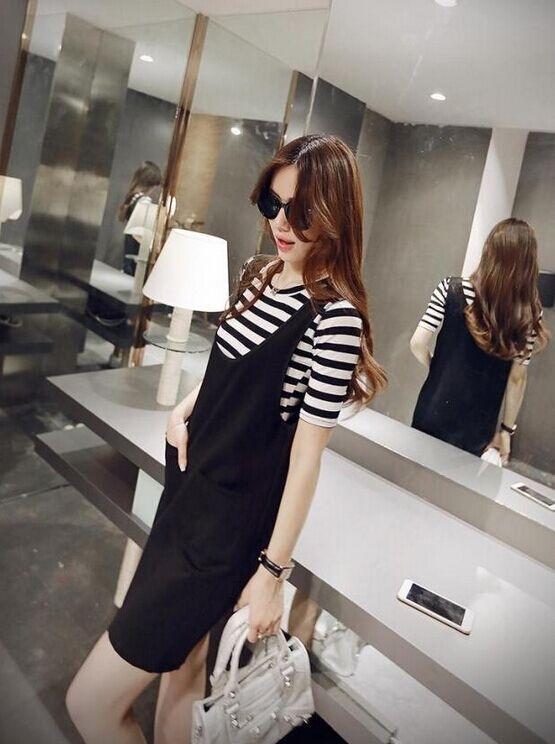 品名: 新款韓版兩件套連衣裙(單色黑色) J-11328