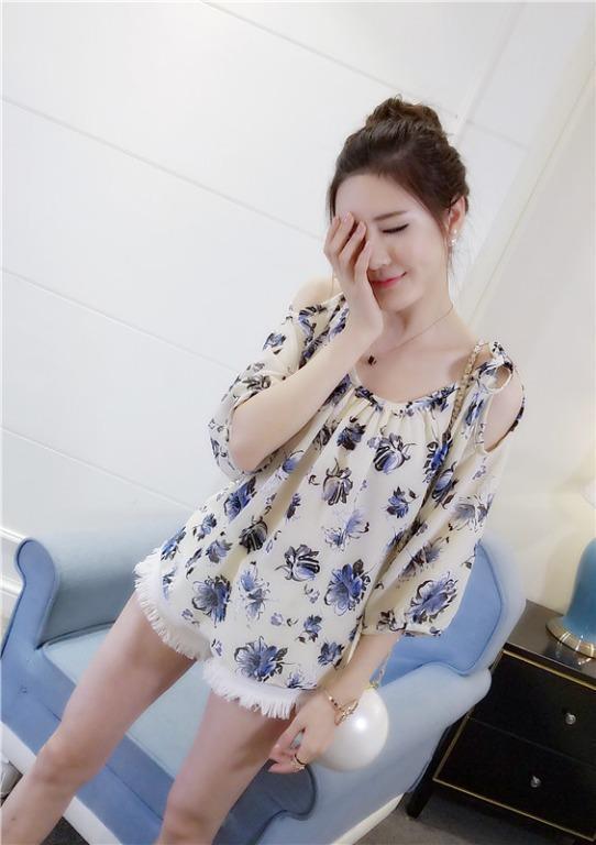品名: 韓版圓領露肩五分袖雪紡上衣(杏色) J-12696