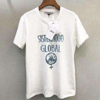 代購 法國時尚精品Dior迪奧純手工反面浸透地球印花女權主義短袖T恤