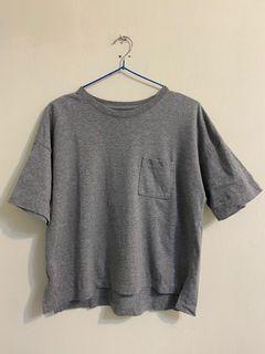 無印良品 MUJI 寬版五分袖T恤 灰M-L