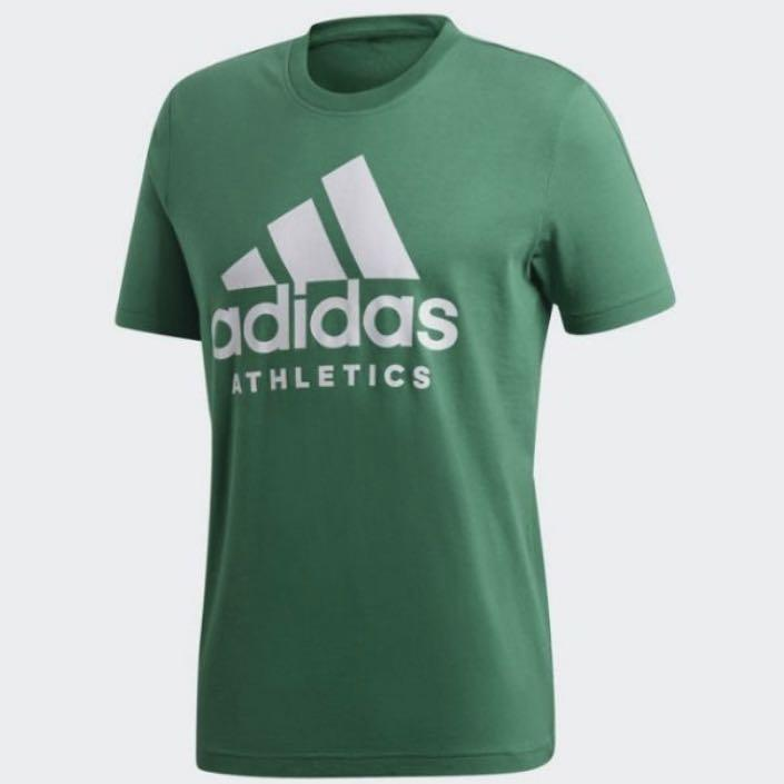 Adidas 男款短袖大LOGO 綠色 CF9561