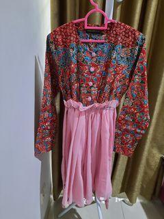 anggradewi batik merah pink preloved