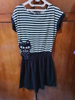 Baju terusan/ dress hitam putih kucing lucu nevada