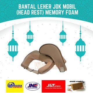 Bantal Leher Jok Mobil Head Rest Neck Rest Cushion Memory Foam Krem