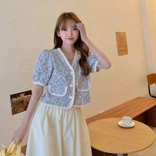 法式夏季新款韓版寬松bm開衫泡泡袖短款小香風襯衫T恤上衣女325627
