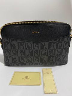 Bonia Monogram Black Crossbody Bag