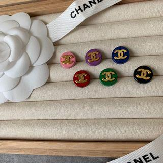 Chanel彩色針織外套小鈕扣 一組6顆