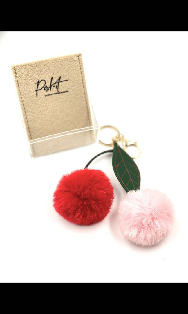 Cherry rabbit Fur charm