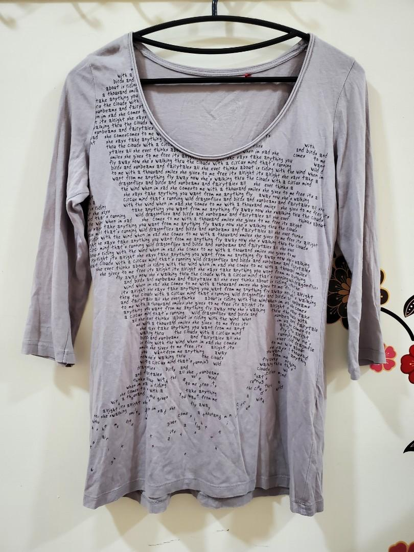 Esprit女款領口不修邊M碼七分袖上衣棉+莫代爾