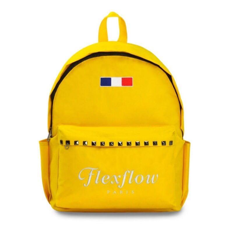 全新Flexflow 100%原廠正品 龐畢度系列 法式復古刺繡鉚釘後背包 黃色包包