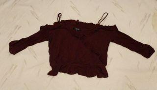 Maroon Cropped Ruffled Shirt