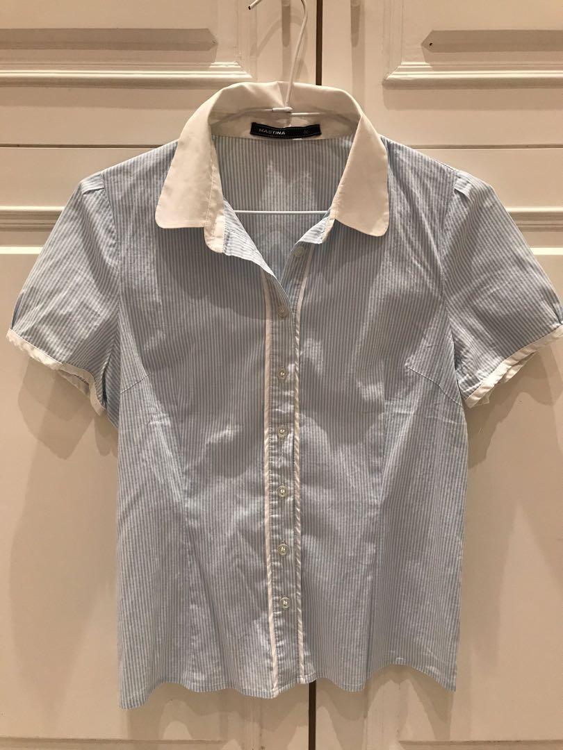 [Mastina]藍白條紋女短袖襯衫