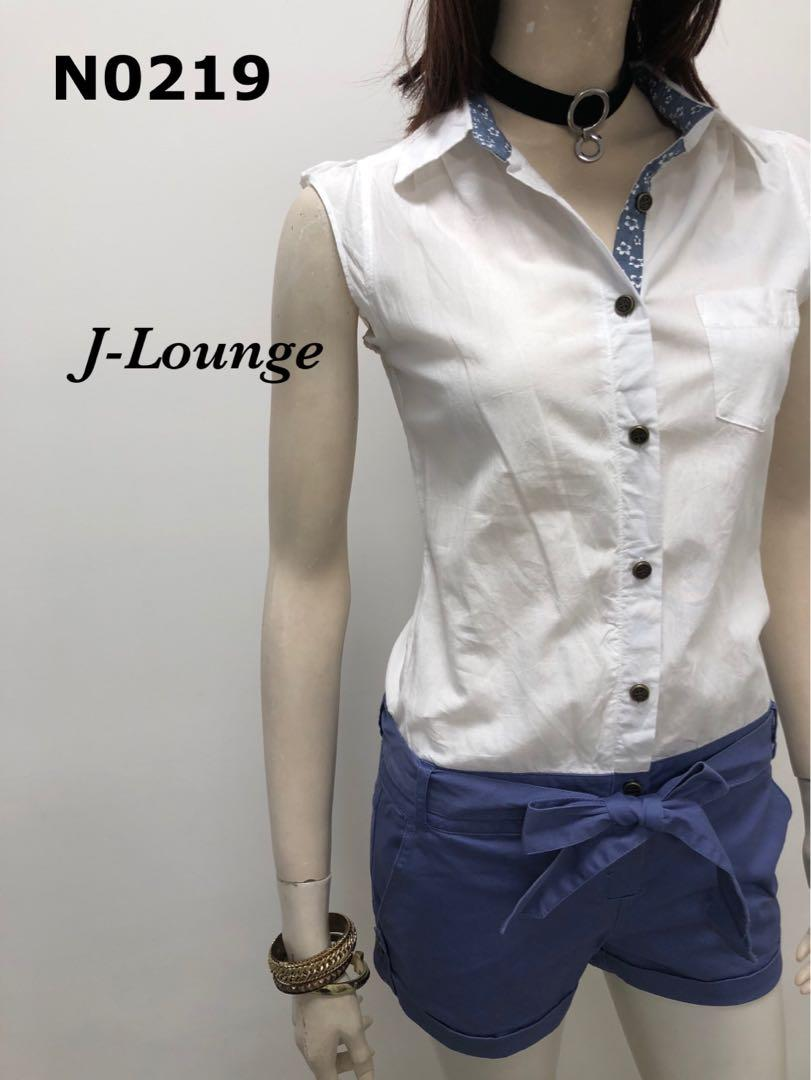 N0219全新日系假兩件式襯衫連身短褲學院顯瘦日韓休閒連身褲藍白romper J-Lounge